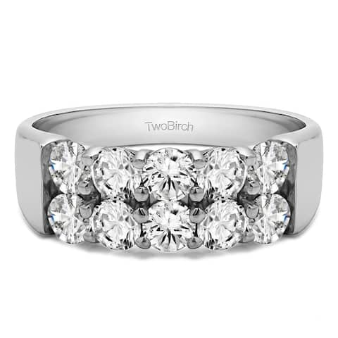 Platinum Ten Stone Double Row Shared Prong Wedding Band mounted with Moissanite (2 Cts. twt)