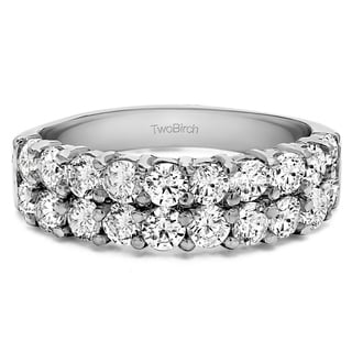 Platinum Double Row Double Shared Prong Wedding Ring Mounted With Moissanite 1 Cts Twt