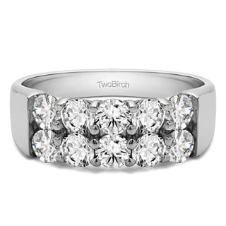 14k Gold Ten Stone Double Row Shared Prong Wedding Band Mounted With Moissanite 2 Cts Twt