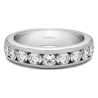 Platinum 10 Stone Channel Set Wedding Ring Mounted With Moissanite 0 75 Cts Twt
