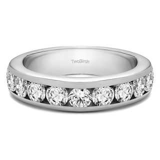 Platinum 10 Stone Channel Set Wedding Ring Mounted With Moissanite 1 Cts Twt