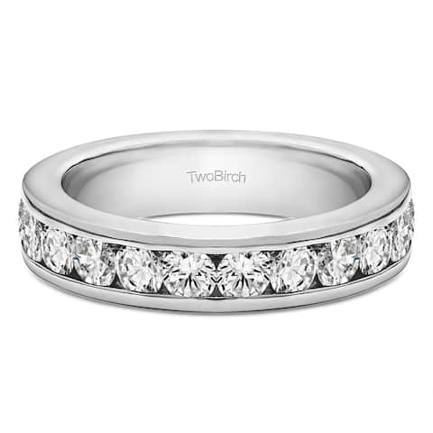 Platinum Twelve Stone Channel Set Straight Wedding Ring mounted with Moissanite (0.24 Cts. twt)