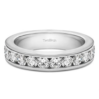10k Gold Twelve Stone Channel Set Straight Wedding Ring mounted with Moissanite (1 Cts. twt)