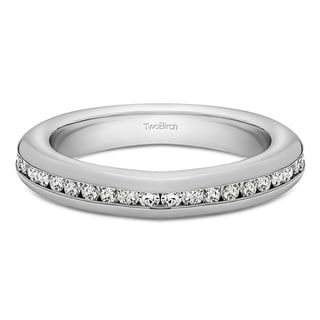 10k Gold Twenty Stone Thin Channel Set Wedding Ring Mounted With Moissanite 0 2 Cts Twt