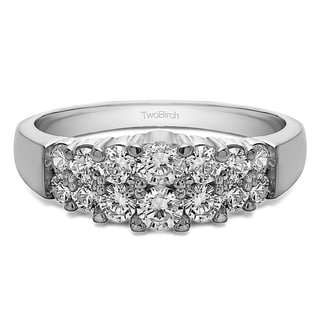 10k Gold Double Row Shared Prong Step Cut Wedding Ring Mounted With Moissanite 1 Cts Twt