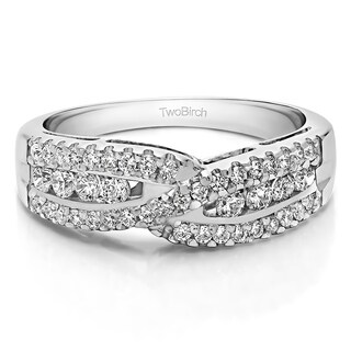 Platinum Cross Over U Prong Set Wedding Ring Mounted With Moissanite 0 61 Cts Twt