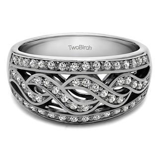 10k Gold Infinity Braid Pave Set Wedding Ring Mounted With Moissanite 0 54 Cts Twt