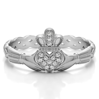 Platinum Celtic Claddagh Wedding Ring With Pave Heart Mounted With Moissanite 0 07 Cts Twt