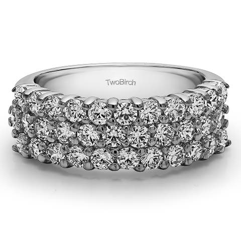 Platinum Three Row Double Shared Prong Wedding Band mounted with Moissanite (1.49 Cts. twt)