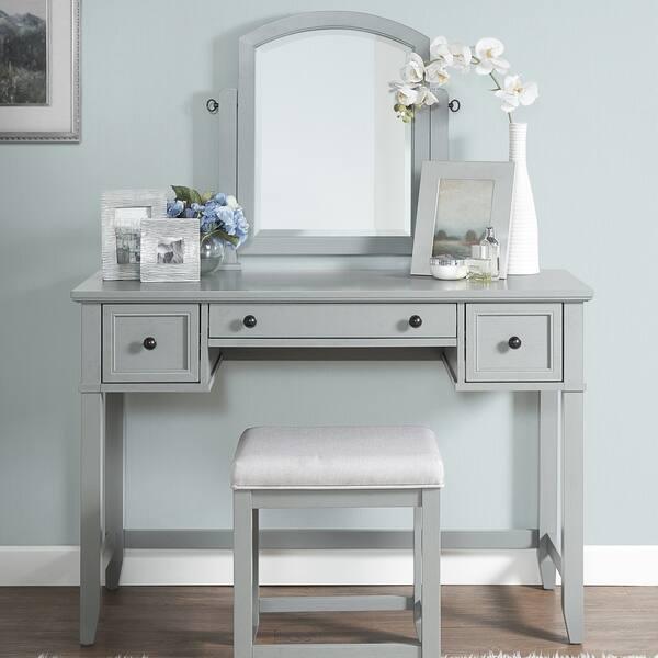 Terrific Shop Vista Vanity Stool In Vintage Grey With Dove Grey Linen Alphanode Cool Chair Designs And Ideas Alphanodeonline