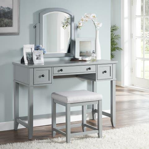 Vista Vanity, Mirror And Stool In Vintage Grey