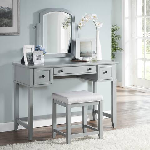 Vista Vanity And Mirror In Vintage Grey
