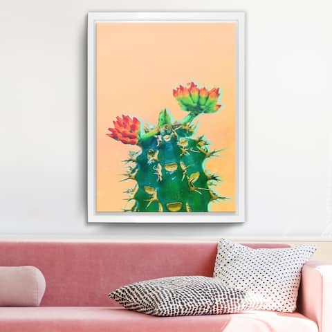 Ready2HangArt 'Color Me Cactus' Framed Succulent Canvas Wall Art - Green/Orange/White