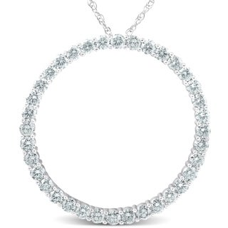 Pompeii3 14k White Gold 3 Ct TDW Circle Diamond Pendant 1 1 2 Tall
