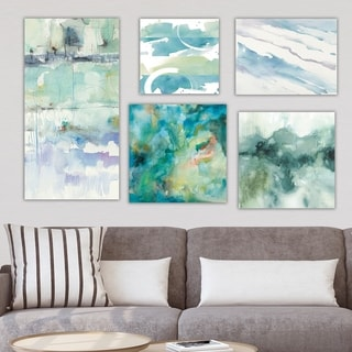 Designart 'Green Collection' Abstract Wall Art set of 5 pieces - Multi-Color