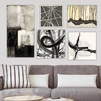 Designart 'Geometrical Collection ' Abstract Wall Art set of 5 pieces - Black
