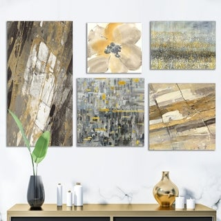 Designart 'Glam Gold Collection' Abstract Wall Art set of 5 pieces - Multi-Color