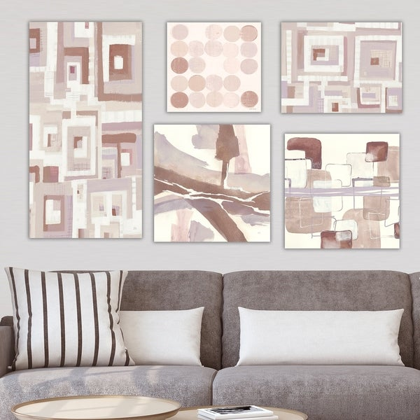 Designart 'Brown Collection' Abstract Wall Art set of 5 pieces - Multi-color