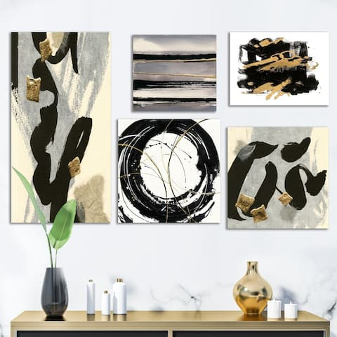 Designart 'Glam Gold Collection' Abstract Wall Art set of 5 pieces
