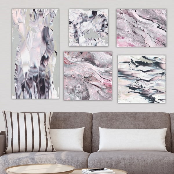 Designart 'Pink & Black Collection' Abstract Wall Art set of 5 pieces - Multi-Color