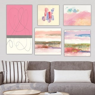 Designart 'Pink Collection' Abstract Wall Art set of 5 pieces - Multi-Color