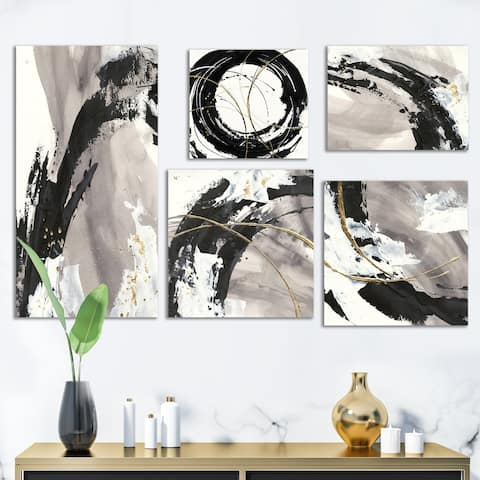 Designart 'Glam Gold Collection' Abstract Wall Art set of 5 pieces - Black