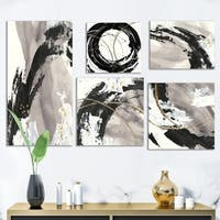 Designart 'Glam Gold Collection' Abstract Wall Art set of 5 pieces - Black/Grey