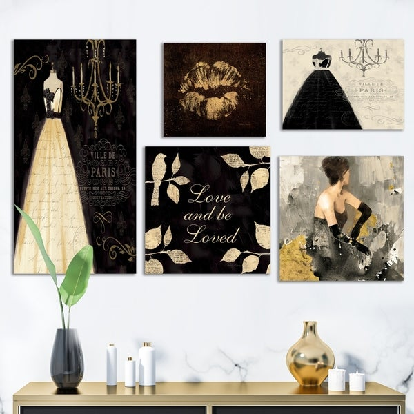Designart 'Glam Love Collection' Abstract Wall Art set of 5 pieces - Multi-color