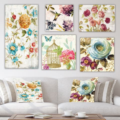Designart 'Kolibri Collection' Traditional Wall Art set of 5 pieces - Multi-Color