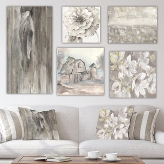 Designart 'Farmhouse Collection ' Traditional Wall Art set of 5 pieces - Grey