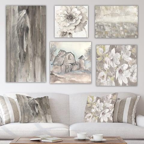 Designart 'Farmhouse Collection ' Traditional Wall Art set of 5 pieces - Grey