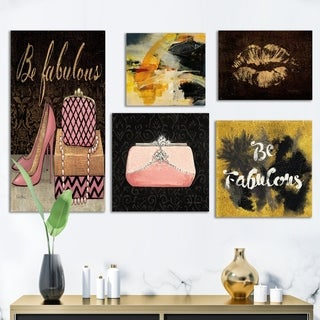 Designart 'Glam Style Collection' Abstract Wall Art set of 5 pieces - Multi-Color
