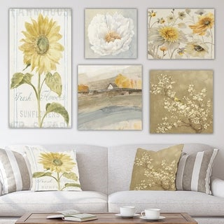 Designart 'Yellow Flower Collection' Traditional Wall Art set of 5 pieces - Multi-Color
