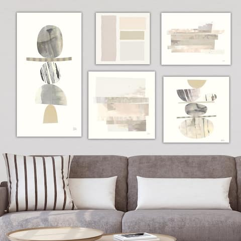 Designart 'Balance Collection' Abstract Wall Art set of 5 pieces - Grey