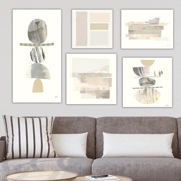 Designart 'Balance Collection' Abstract Wall Art set of 5 pieces - Grey/Brown