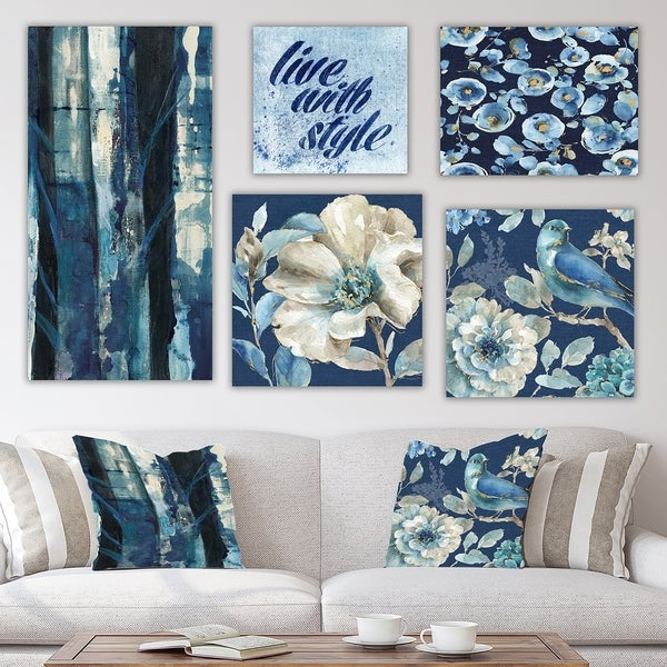 Designart 'Blue Forest Collection' Traditional Wall Art set of 5 pieces - Grey/Blue