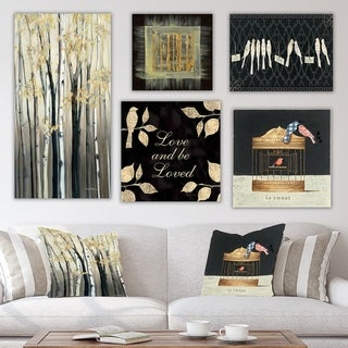 Designart 'Birch Collection' Traditional Wall Art set of 5 pieces - Multi-Color