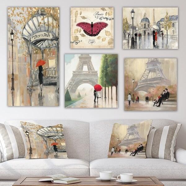 Designart 'Paris Collection' Traditional Wall Art set of 5 pieces - Multi-Color