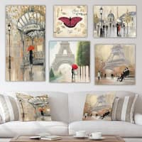 Designart 'Paris Collection' Traditional Wall Art set of 5 pieces - Multi-Color