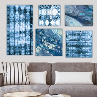 Designart 'Geometrical Collection ' Abstract Wall Art set of 5 pieces - Blue/White