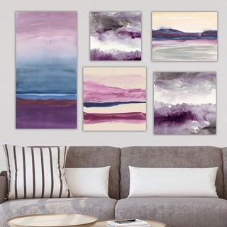 Designart 'Purple & Rose Collection' Abstract Wall Art set of 5 pieces - Multi-Color