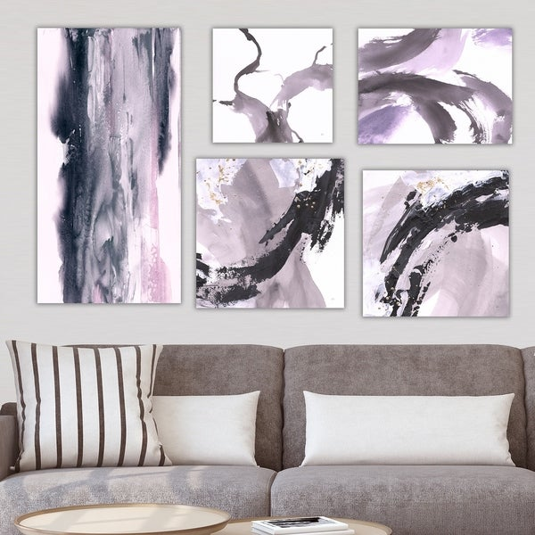 Peachy Designart Black Purple Collection Abstract Wall Art Set Of 5 Pieces Multi Color Home Interior And Landscaping Staixmapetitesourisinfo