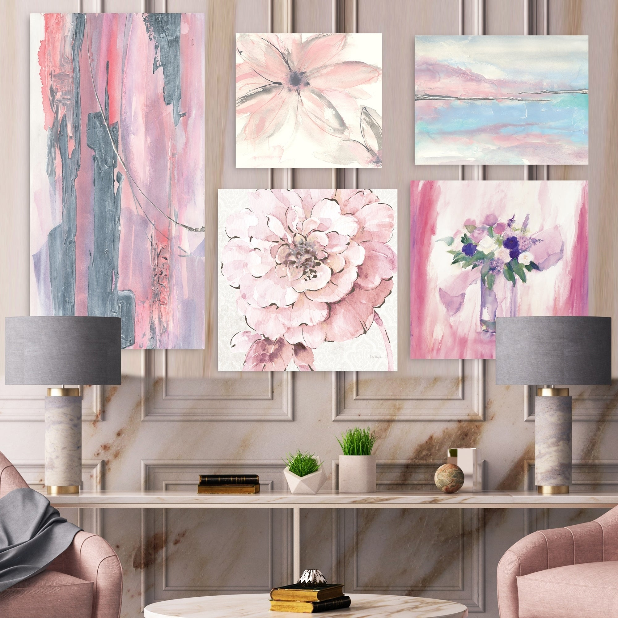 Designart Shabby Pink Collection Chic Wall Art Set Of 5 Pieces Multi Color