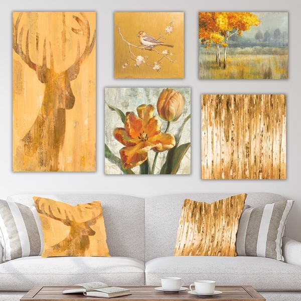 Designart 'Orange Forest Collection' Traditional Wall Art set of 5 pieces - Multi-color