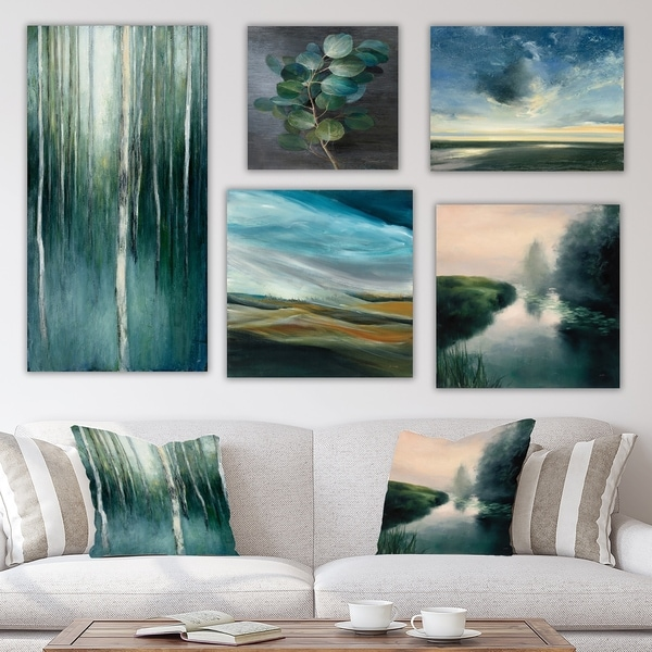 Designart 'Water Sunset collection' Traditional Wall Art set of 5 pieces - Multi-Color