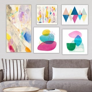 Designart 'Bright Blue Collection ' Abstract Wall Art set of 5 pieces - Multi-Color