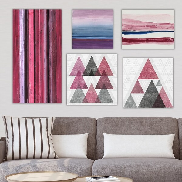 Designart 'Burgundy Collection ' Abstract Wall Art set of 5 pieces - Multi-Color