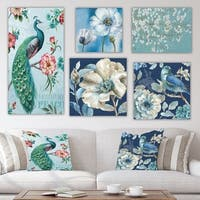 Designart 'Blue Flower Collection' Traditional Wall Art set of 5 pieces - Multi-Color