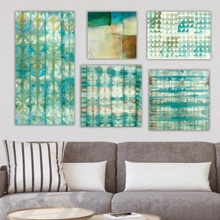 Designart 'Geometrical Collection ' Abstract Wall Art set of 5 pieces - Blue/Green