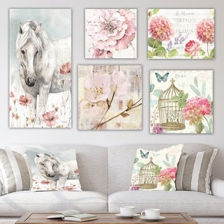 Designart 'Farm Horse Collection' Traditional Wall Art set of 5 pieces - Multi-Color